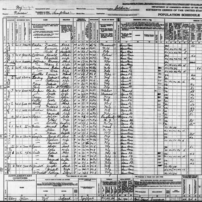 1940 census form