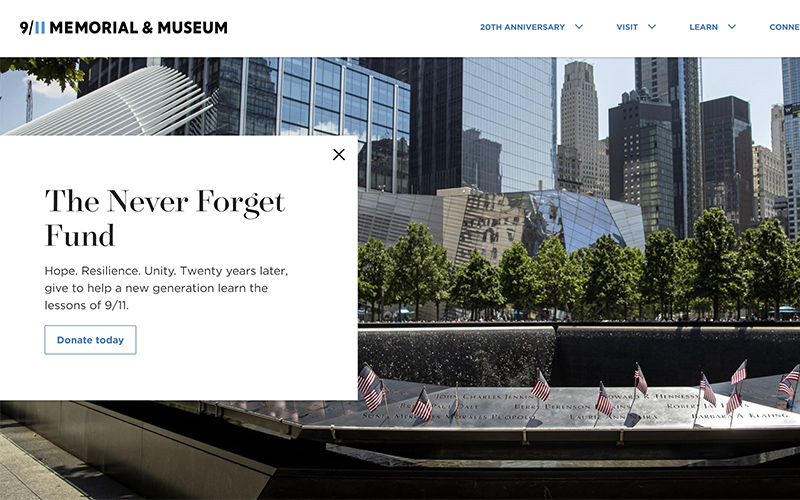 an image of the 9/11 memorial website.