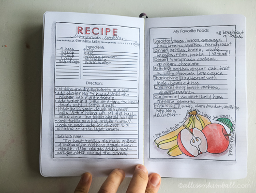Record family recipes and the memories that go with.