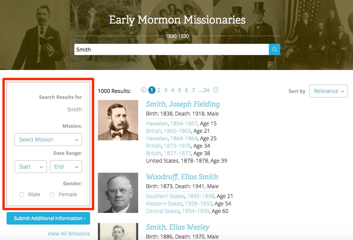 The Early Mormon Missionary Database can help guide you to your missionary ancestors.