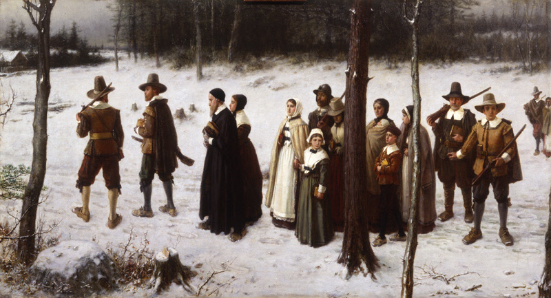 Painting of Mayflower pilgrims walking to Church.