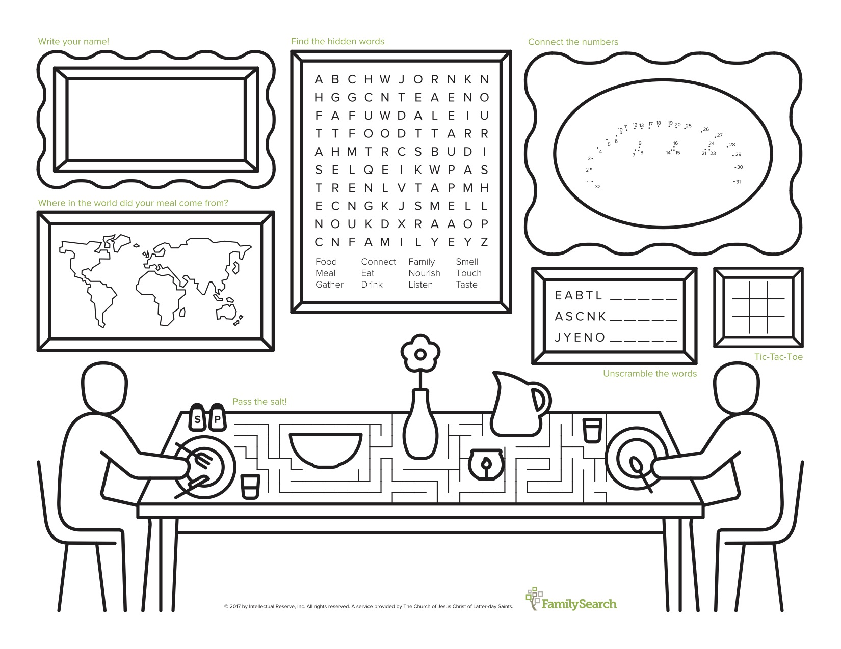 Print this placemat for a fun family experience.