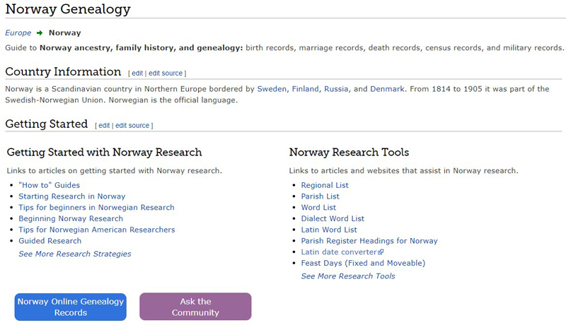 Norway Genealogy research on the FamilySearch Wiki.