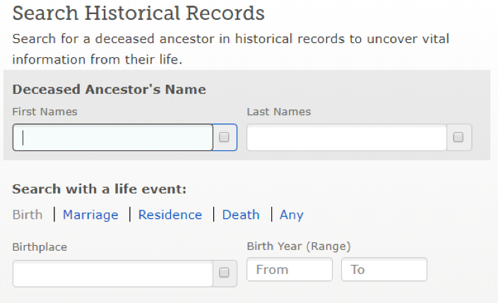 Searching historical records on FamilySearch