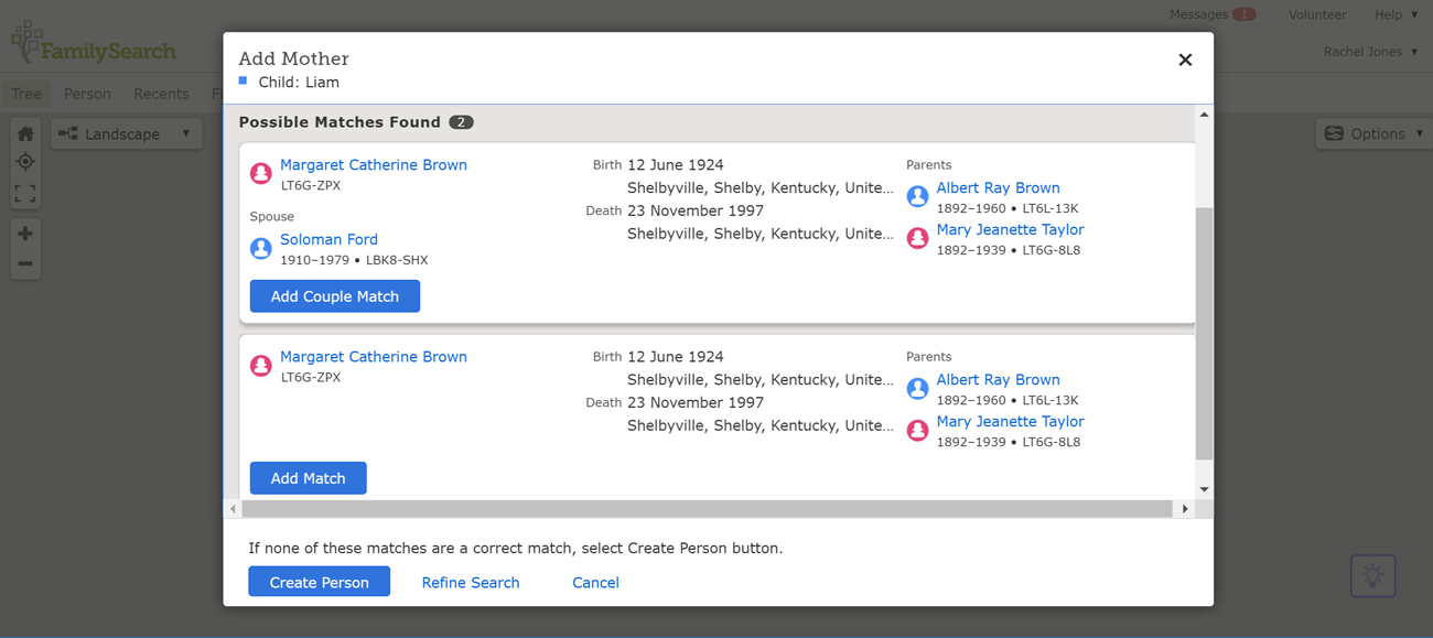 Possible matches found in the FamilySearch Family Tree.