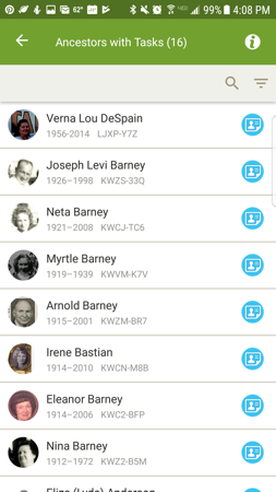 How to quickly complete simple tasks in the Family Tree mobile app.