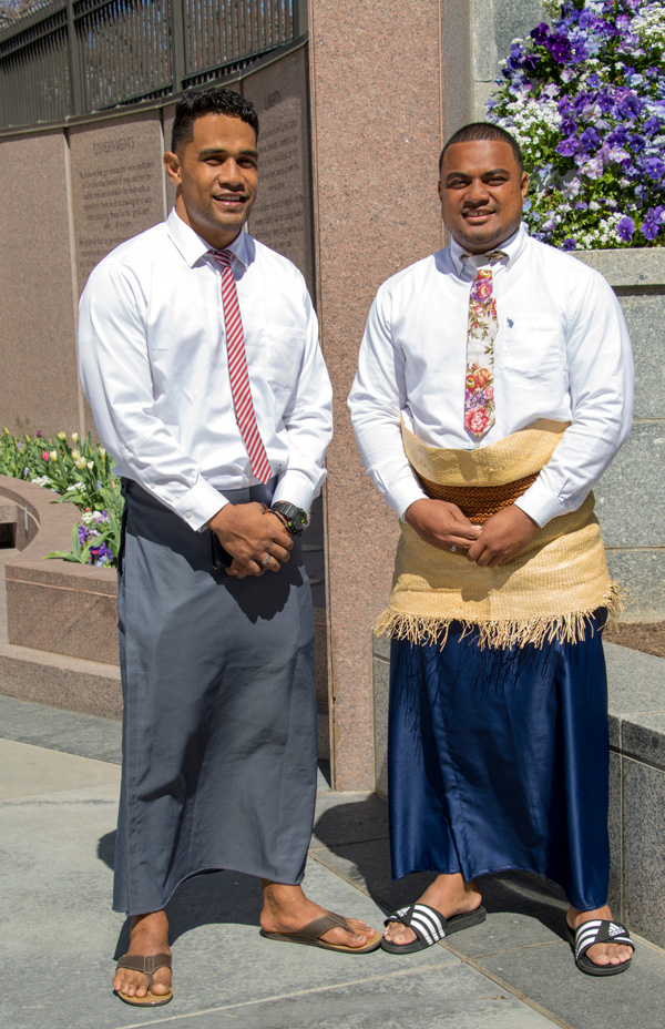 Two Tongan elders just home from mission, attending temple.