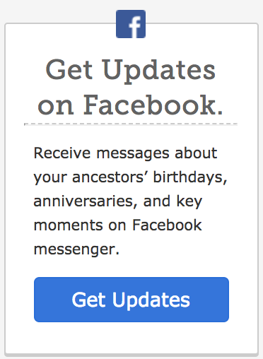 Get updates about your important family history dates on Facebook