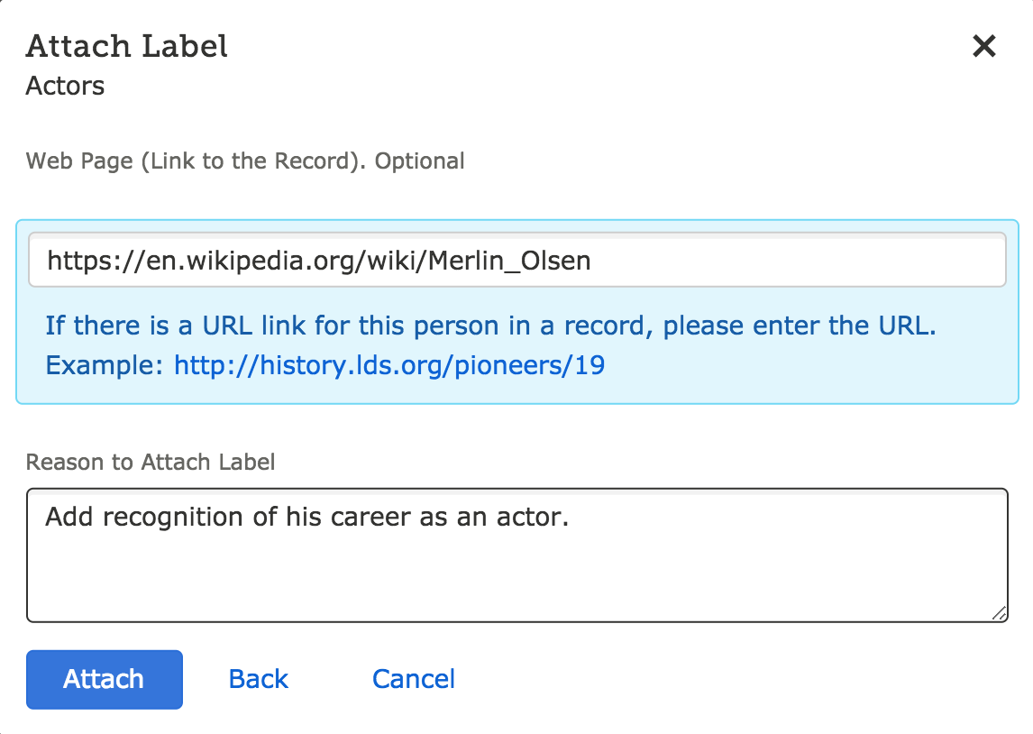 Attach labels to people on your free FamilySearch account.