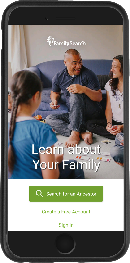 iphone with FamilySearch Family Tree app.