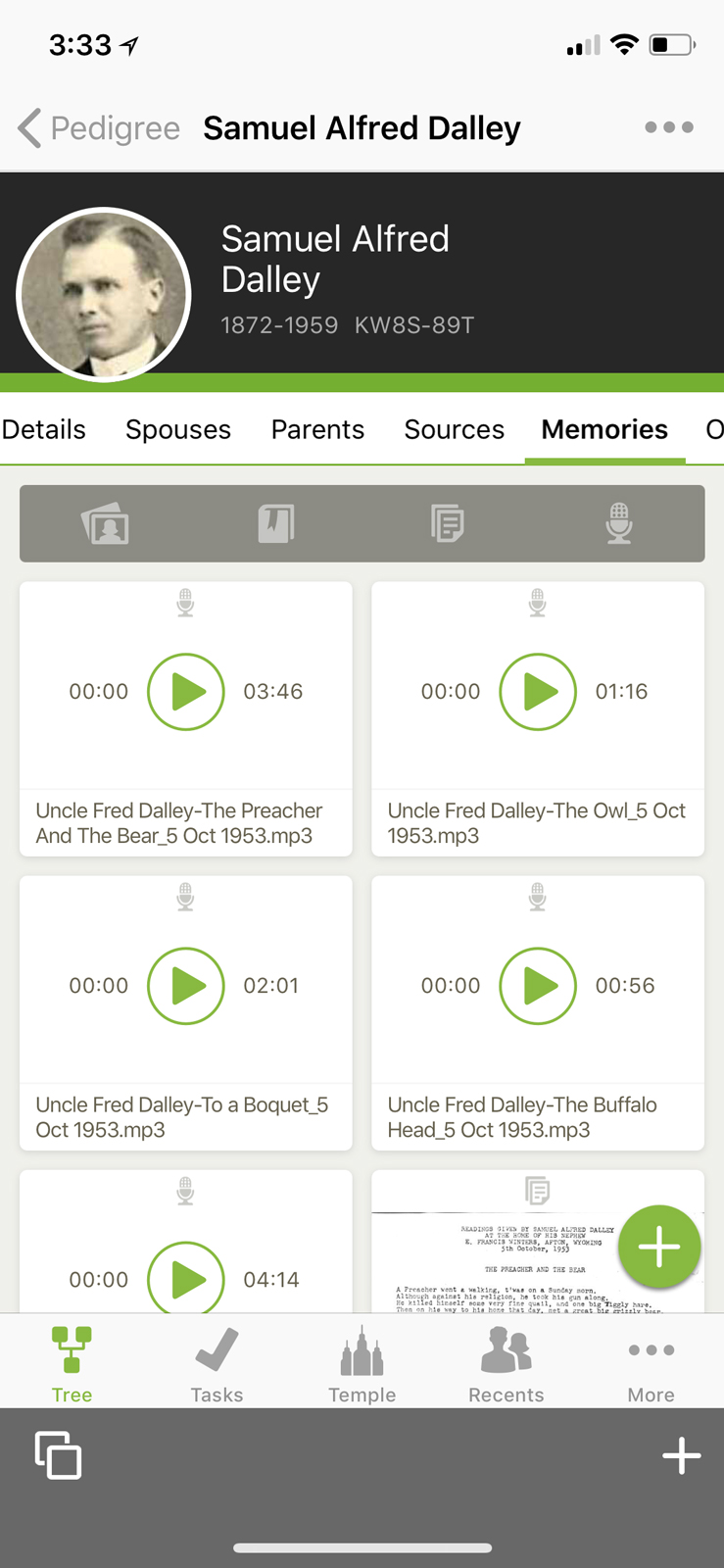 How to add FamilySearch Memories on the Family Tree app on Apple.
