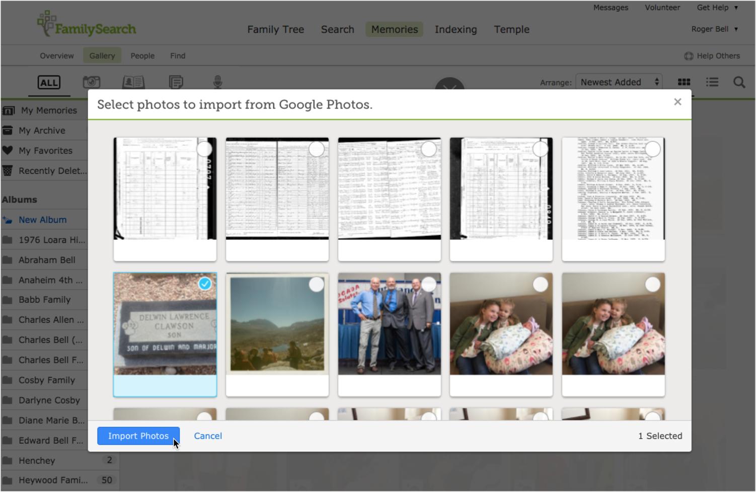 How to import Google Photos into your FamilySearch family tree.