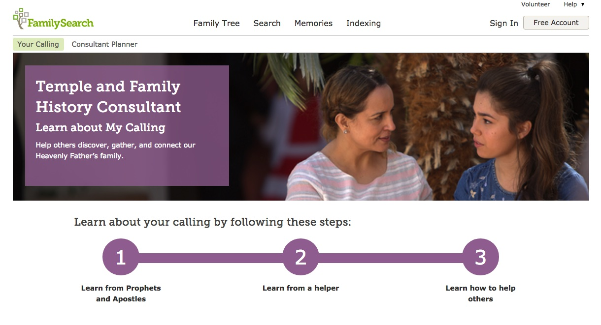 Visit the new Learn About My Calling page on FamilySearch.org.