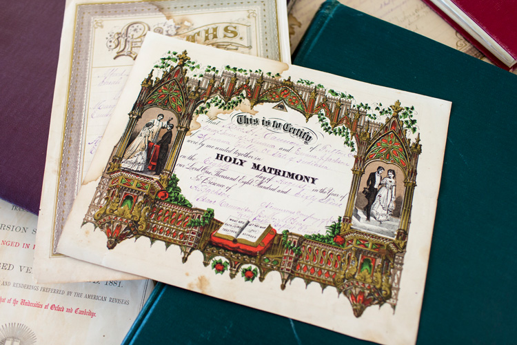marriage certificate, a significant vital record (BMD record)