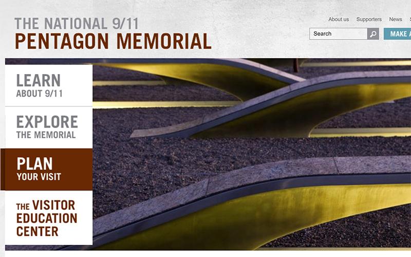 An screen capture of the Pentagon memorial site.