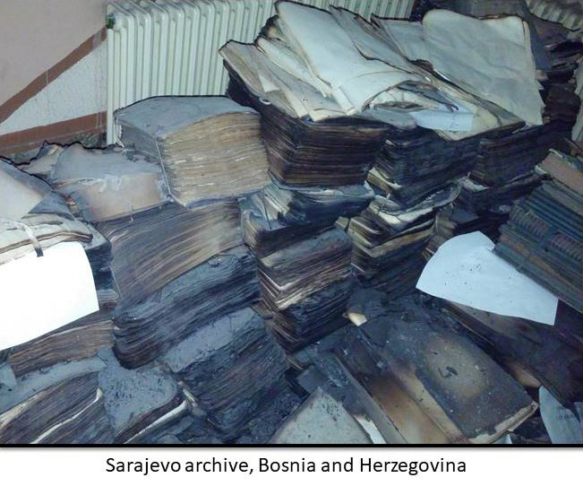 Charred archives and documents in Sarajevo in Bosnia and Herzegovina