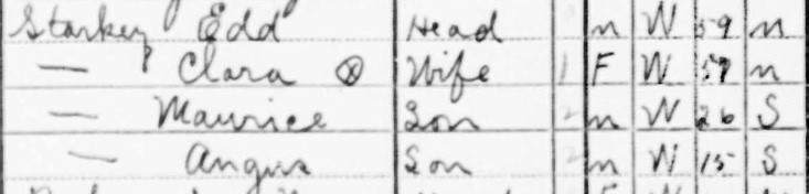 1940 Cenus showing Ed and Clara Starkey living in Perry County, Ohio
