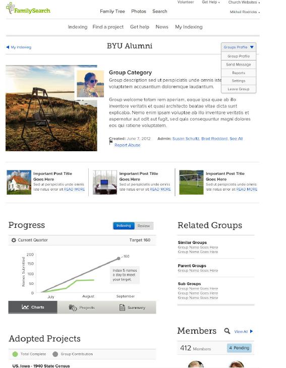 ejemplo de la nueva página de grupo del programa de indexación