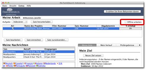 aktueller Indexierungs-Startbildschirm
