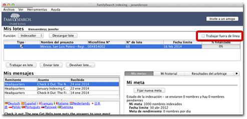 pantalla actual de inicio de la indexación