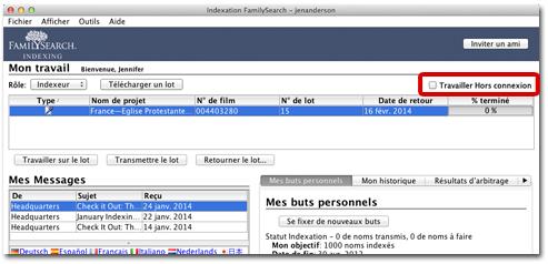 écran actuel de démarrage de l'indexation