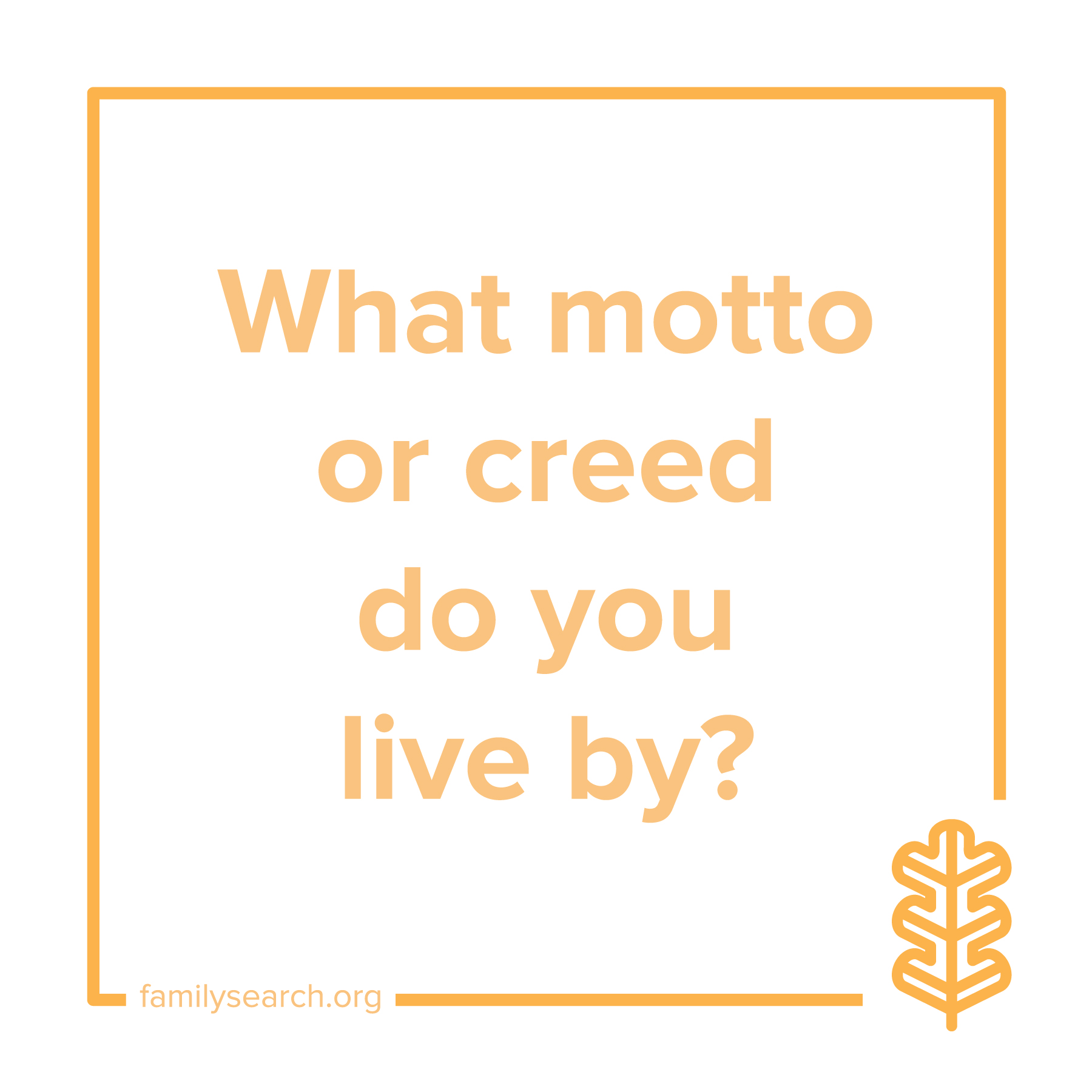 What motto or creed do you live by?