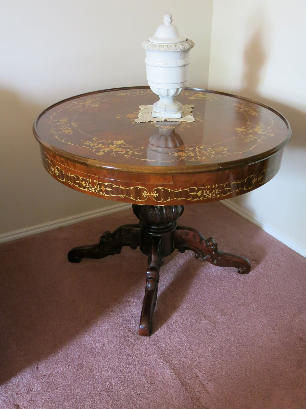 Handcrafted Italian in-laid wood table from Sorrento, Italy.