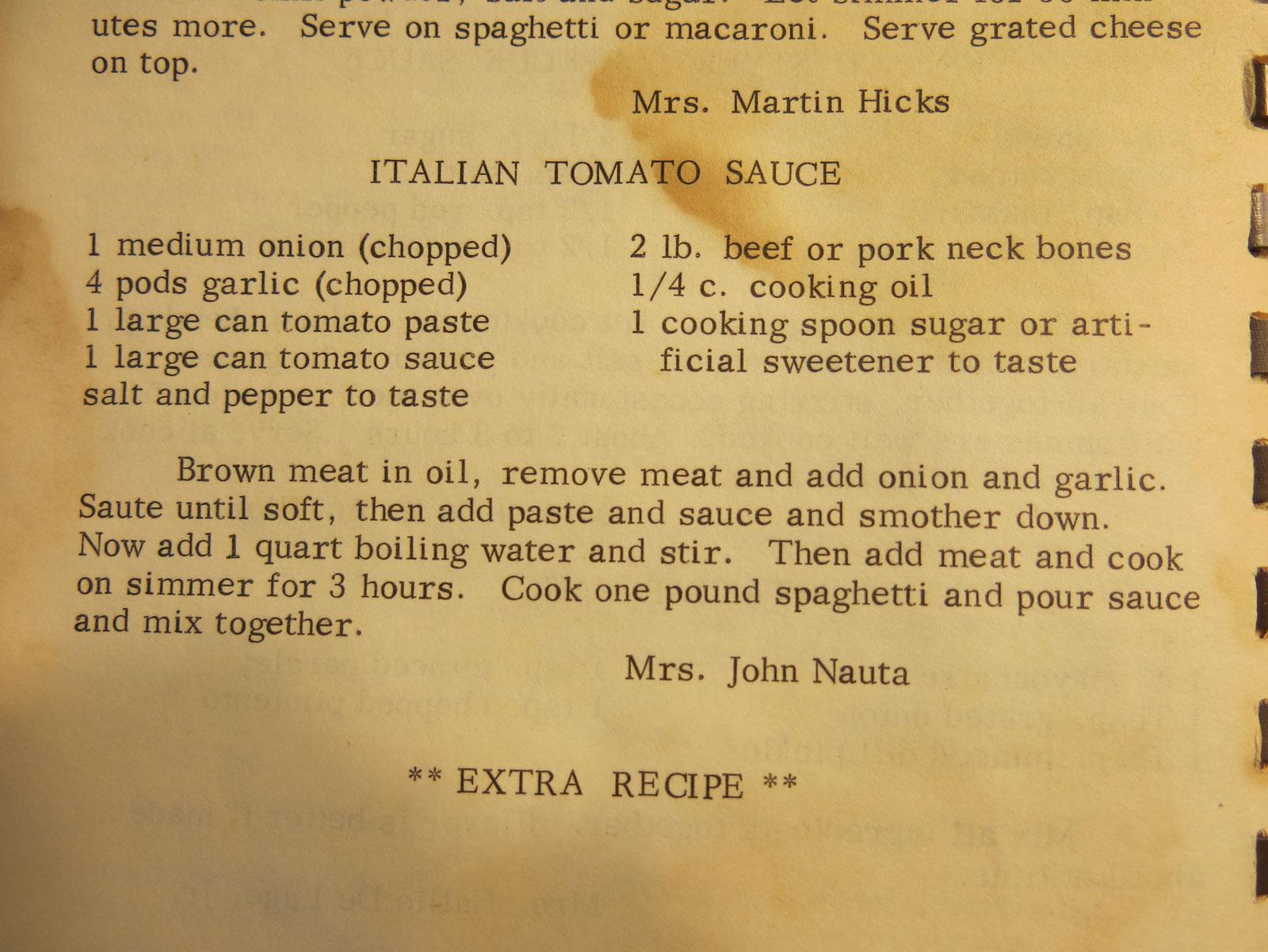 Mom's famous homemade ragu recipe. I use pork sausage in lieu of the pork neck bones.