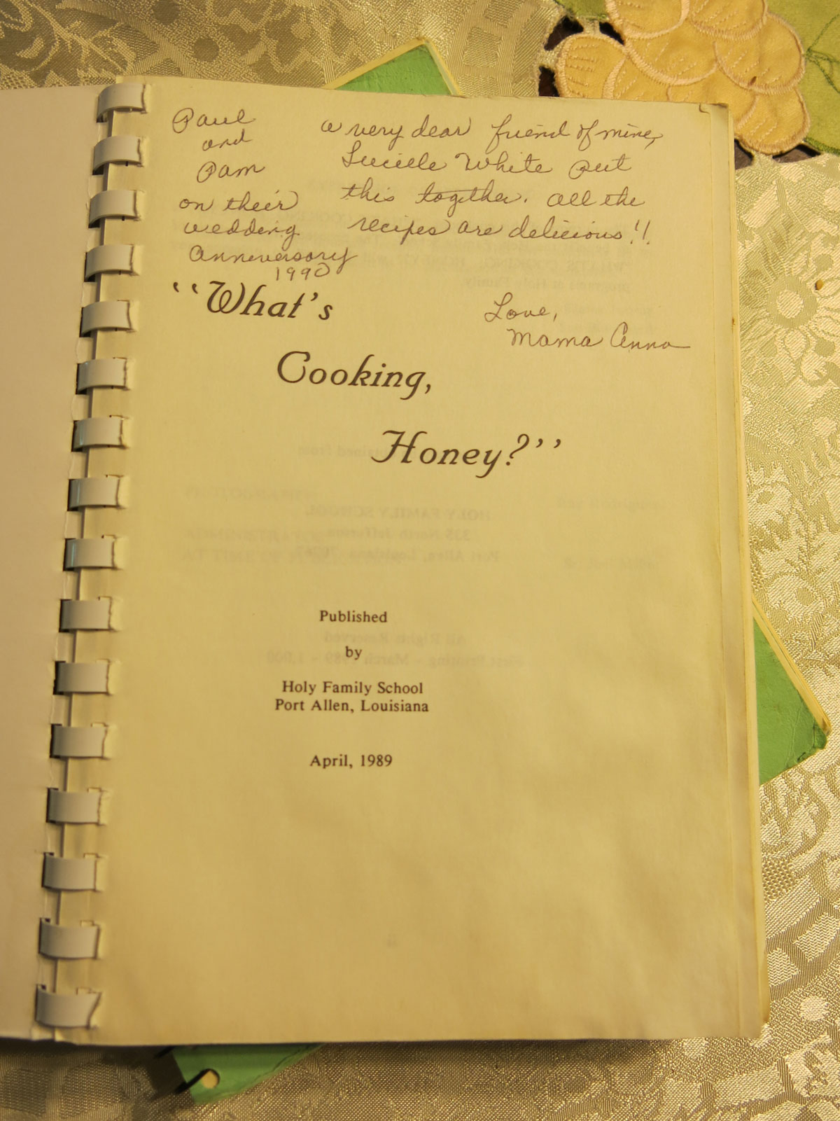 Inscription from my mother, Anna Nauta, in a  community fundraising cookbook that included some of her recipes.