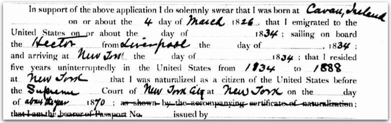 Immigration document from National Archives
