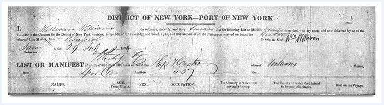 New York Passenger Lists, 1820–1891, National Archives and Records Administration