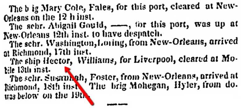 Charleston Courier, Mar. 24, 1834, 2, accessed on GenealogyBank.com