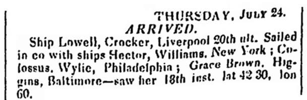 Columbian Centinel, Jul. 26, 1834, 1, accessed on GenealogyBank.com