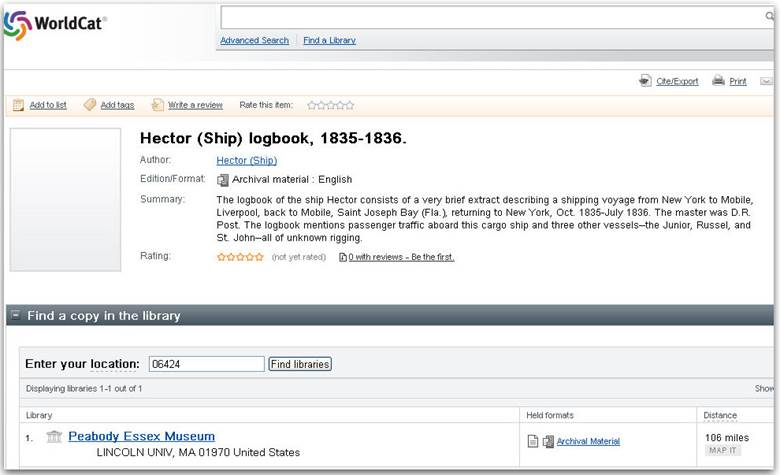 """""""Hector (Ship) Logbook, 1835–1836,"""" accessed on WorldCat.com"""