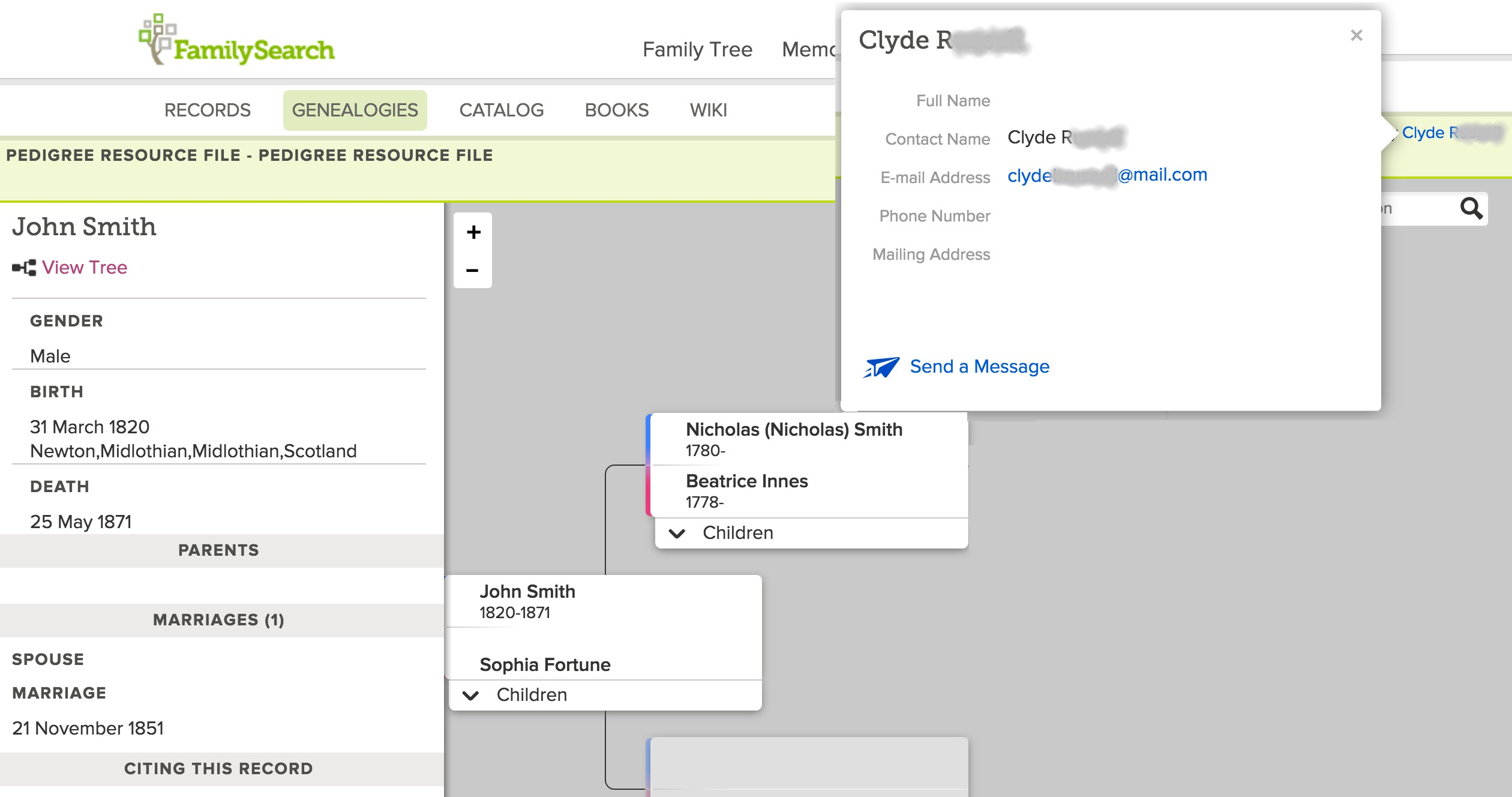 User-to-User Messaging Available in More Sections of FamilySearch.org
