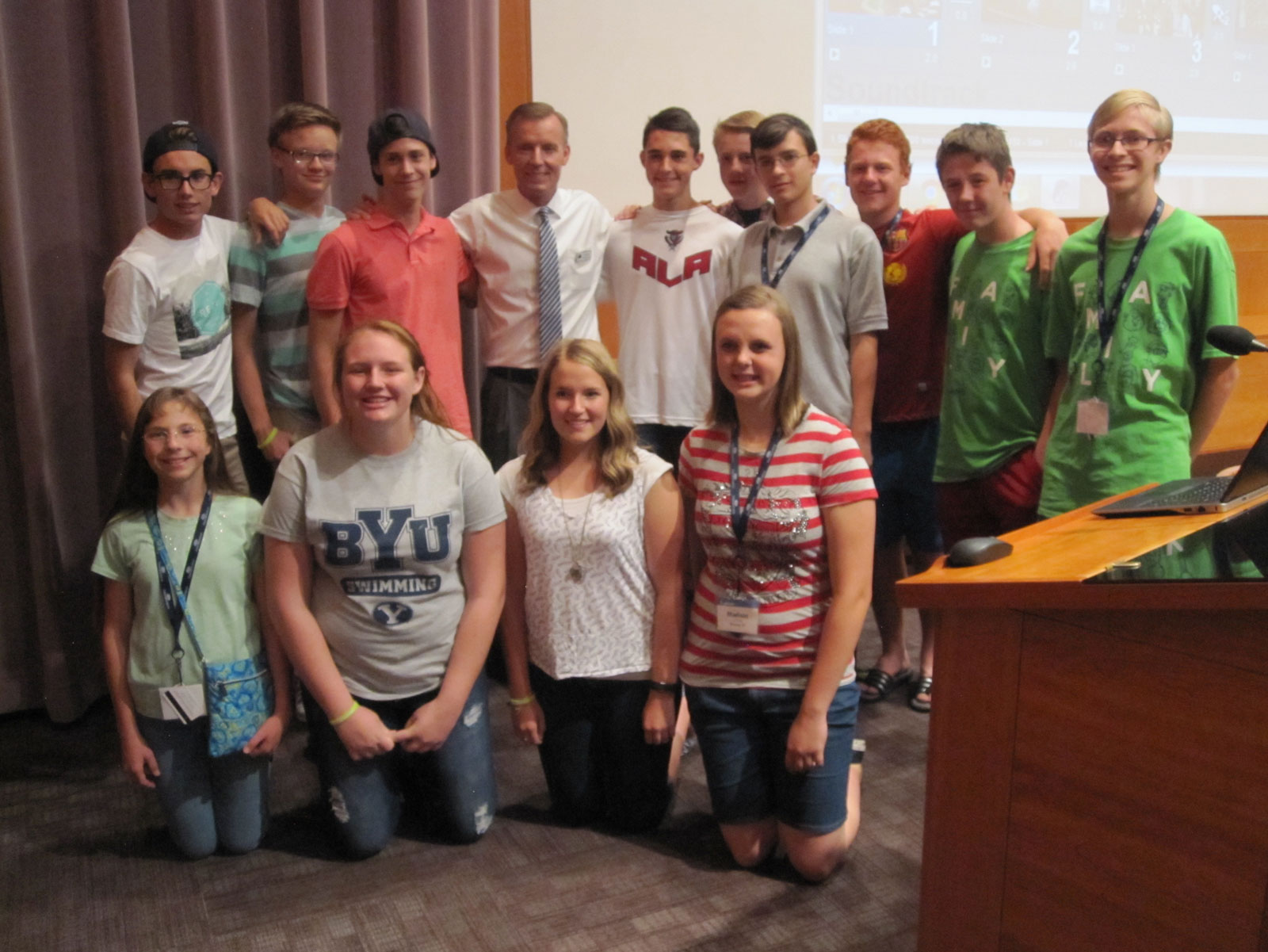 BYU myFamily History Youth Camp participants with John Bytheway